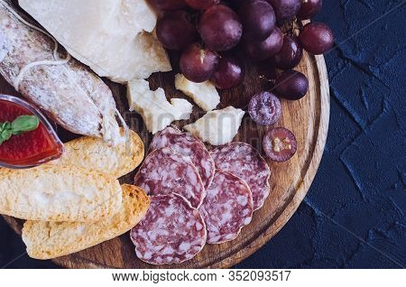 Board With Mediterranean Appetizers, Tapas Or Antipasti. Assorted Italian Style Banquet Food Set. De