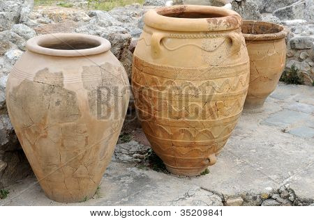 Three Ancient Pithoi In Knossos