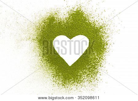 Matcha Heart By Powdered Matcha Green Tea. Healthy Drinks Concept. Energy Boosting Beverages. Mornin