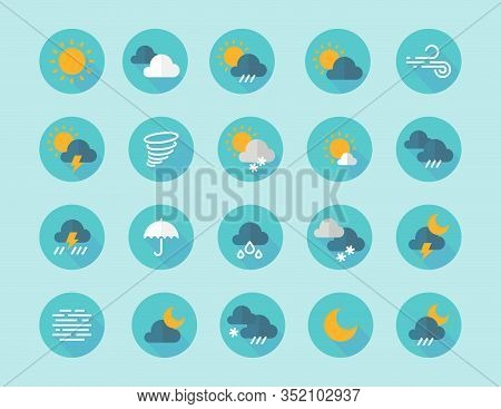 Weather Flat Icons. Interface Infographic Elements With Sun Clouds Rain Fog Wind Symbols. Vector Fla