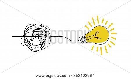 Idea Doodle Concept. Confuse To Simplicity Concept With Messy Hand Drawn Lines And Light Bulb. Vecto