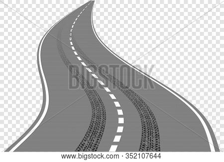 Winding Road With Tire Tracks Intersect With Road Markings.