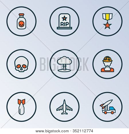 Army Icons Colored Line Set With Artillery, Soldier Grave, Medal And Other Military Elements. Isolat