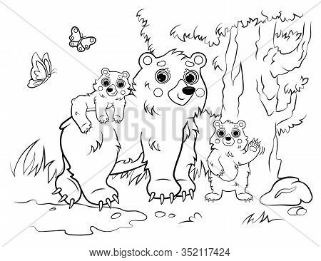 Coloring Page Outline Of Cute Cartoon Bear Family. Vector Image Of Bear Mom With Her Cubs On Forest