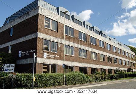 Basingstoke, Uk - September 1, 2019:  Exterior Of Basingstoke And Deane Council Offices In Hampshire