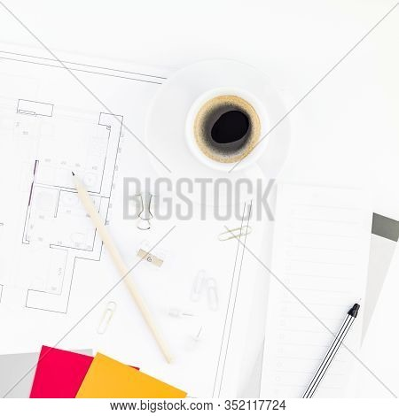 Creative Flat Lay Overhead Top View Blueprint Flat Project Plan Hot Coffee Cup Alarm Clock And Offic