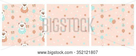 Set Of 3 Seamless Vector Patterns With Cute Party Panda Bear With Gifts And Balloons, In Soft Pastel