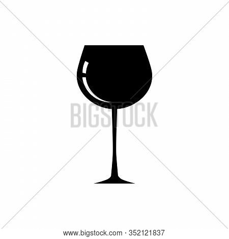 Glass Of Wine, Brandy, Cognac Or Whiskey. Wineglass Icon. Snifter Beer Glass. Vector Illustration Is