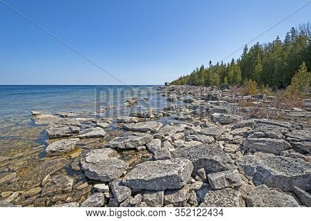 Rocky Coast On The Shore Of Lake Huron In Bruce Peninsula National Park In Ontario