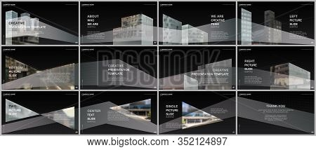 Presentations Design, Portfolio Vector Templates With Architecture Design. Abstract Modern Architect