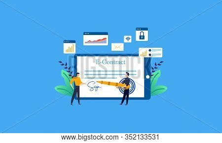 Landing Page Contract Digital Internet, Business Agreement. Legal Arrangement. Employee Hiring Illus
