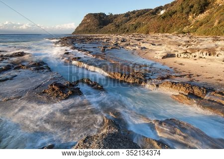 Dramatic Seascape In Morning Light At Dudley Beach - Newcastle Nsw Australia.