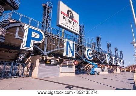 Pittsburgh, Pennsylvania, Usa 2/22/20 The Pnc Park And Pirates Charity Sign Above The Outfield Walkw
