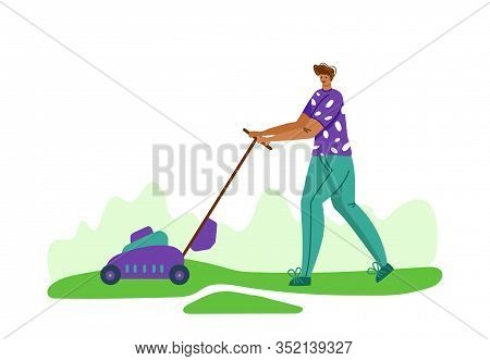Lawn Care And Gardening - Man With Lawn Mower On Backyard Outdoor, Lawn Grass Service And Landscape