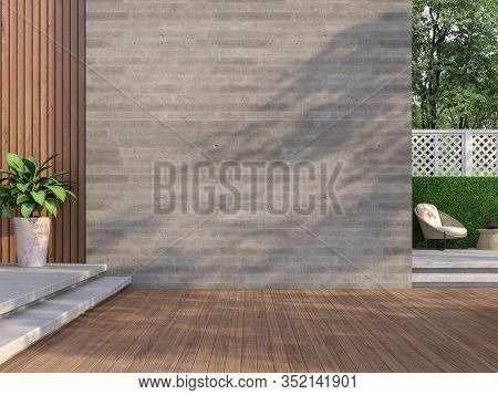 Contemporary Loft Style Balcony 3d Render,there Are Wooden Floors, Empty Concrete Walls Decorating L