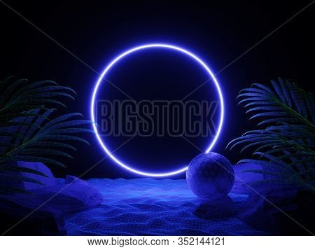 Futuristic Background Night Beach With Tropical Leaves And Neon Circle Light. Cyberpunk Poster. Nigh