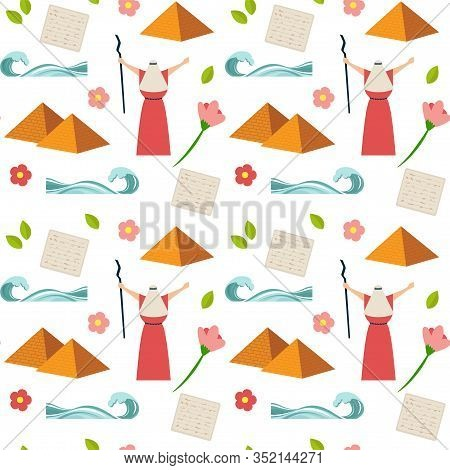 Passover Seamless Pattern. Seder Pesach Invitation, Greeting Card Template Or Holiday Flyers. Moses