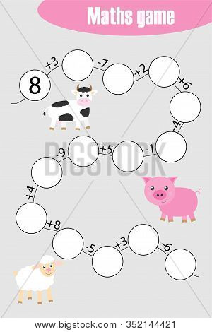 Maths Chain Game With Farm Animals For Children, Education Game For Kids, Preschool Worksheet Activi