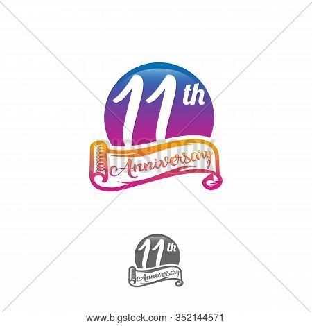 11 Years Anniversary Logo Template Isolated On White, Black And White Stamp 11th Anniversary Icon La