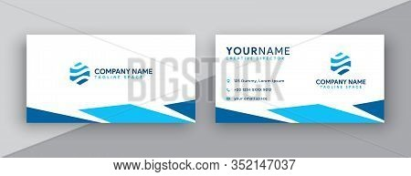 Business Card. Modern Business Card Design . Double Sided Business Card Design Template . Flat Blue