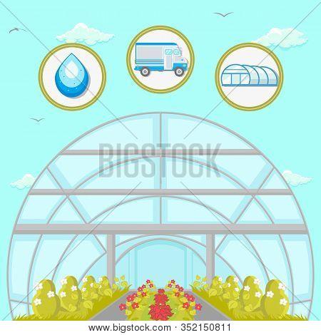 Greenhouse Plantation Flat Vector Illustration. Hydroponics And Cultivation Farming Technology. Hort