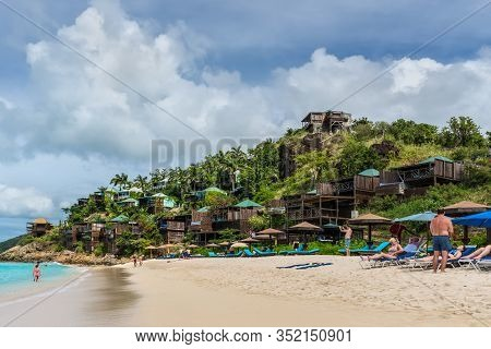 Valley Church Bay, Antigua And Barbuda - December 18, 2018: People Relax On The Valley Church Beach.