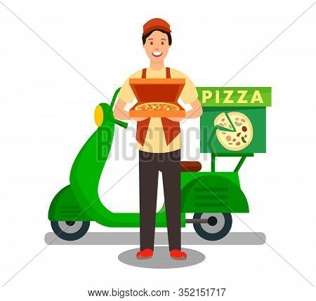 Courier Delivering Pizza Flat Vector Illustration. Fast Food Express Delivery Service. Green Scooter