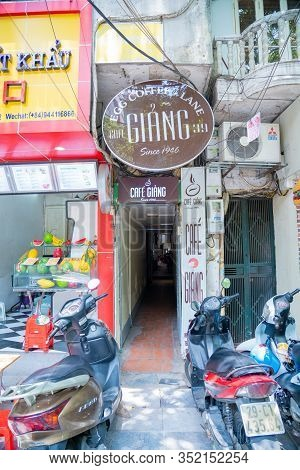 Hanoi/vietnam - July 17: Restaurant Name Tag Egg Coffee Cafe Trung Local Coffee Shop Dessert Cafe Gi