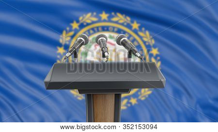 3d Illustration. Podium Lectern With Microphones And New Hampshire Flag In Background