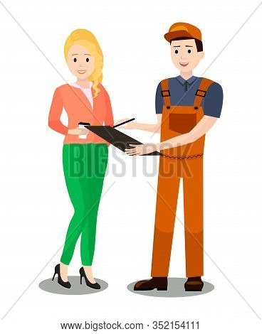 Car Service Client Signing Documents Illustration. Cartoon Woman, Girl, Lady Talking With Mechanic.