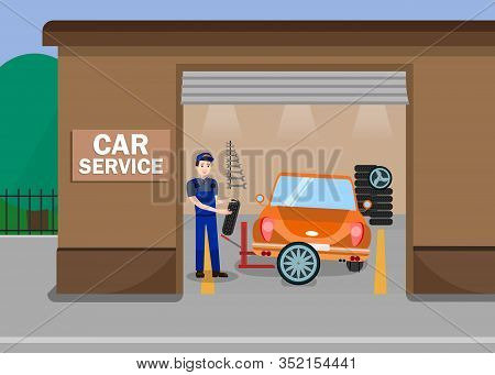 Car Services Station Flat Vector Illustration. Repairman, Mechanic, Worker In Uniform Cartoon Charac