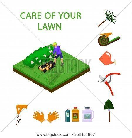 Vector Illustration Care Of The Lawn Isometric. Vector Illustration On White Background. Soil Prepar