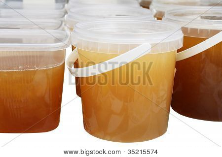 Honey jars on the market stall
