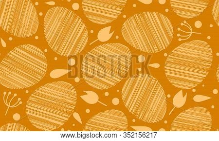 Easter Egg Seamless Orange Pattern. For Clothes, Card, Paper. Duotone Background