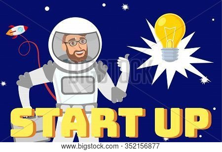 Creative Startup Idea Flat Web Banner Template. Businessman In Space Suit In Open Space Cartoon Char