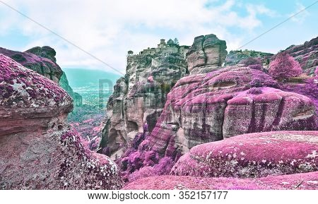 Infrared Landscape Of Meteora Thessaly Greece - Famous Greek Religious Landmarks