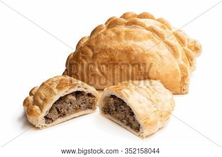 Homemade  Flaky Pasty With Mince Meat Filling Isolated On White