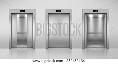 Realistic Vector Elevators With Opened And Closed, Half-open Doors. Steel Lift In Modern Interior Wi