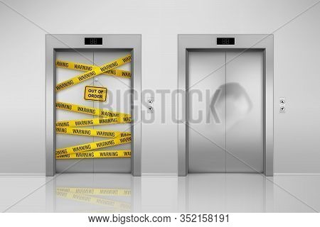Set Of Isolated Broken Elevators With Closed Doors. Lift Maintenance With Duct Tape And Dent On Door