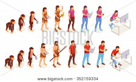 Human Evolution, Vector Icons Of Man And Woman From Ape Monkey To Office Worker. People Evolution Pr