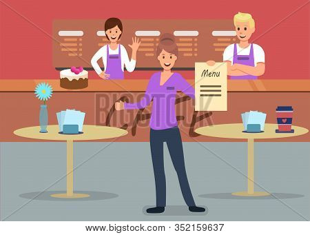 Professional Cafeteria Service Advertising Flat Banner Vector Waitress Administrator Offers Menu At