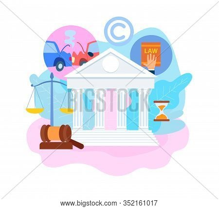 Insurance Trial Process Flat Vector Illustration. Transport, Life, Intellectual Property Protecting.