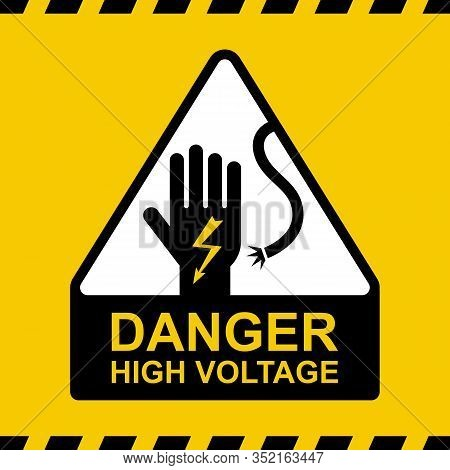 Electricity Caution Icon. Hand Conductor With Zipper. Flat Vector Illustration.