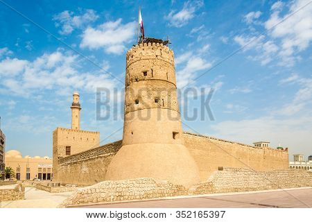 Dubai,uae - February 2,2020 - Fort Near Museum Building In The Streets Of Dubai. Dubai Is The Most P