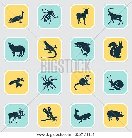 Animal Icons Set With Squirrel, Moose, Bee And Other Gecko Elements. Isolated Vector Illustration An