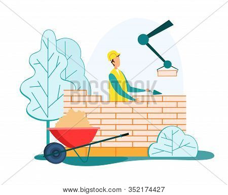 Builder In Helmet And Uniform Holding Trowel In Hand Put Concrete For Laying Brick Wall, Building Cr