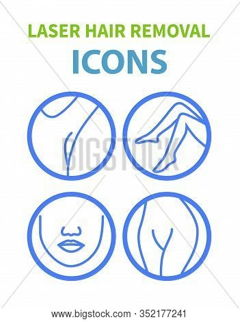 Laser Hair Removal Line Art Icons Set With Areas For Epilation Isolated On White Background. Face, A