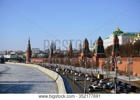 Moscow / Russia - February 10 2020: Sunny Spring Day In The Historical Center Of Moscow. Moscow Krem