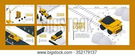 Construction Machinery Website Design Vector Illustration. Landing Page Construction Transport Crane
