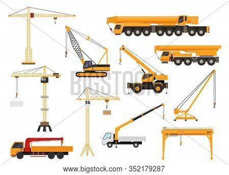 Set Of Construction Cranes In Flat Style. Trucks With Cranes, Crawler Tractors And Cars With Cranes